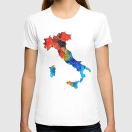 Italy - Italian Map By Sharon Cummings T-shirt