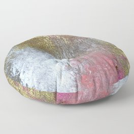Golden Girl: a pretty abstract mixed media piece in pink, white, gold, and gray Floor Pillow