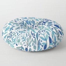Watercolor blue plants Floor Pillow