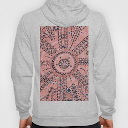 Light Pink Wildflower Sunshine I // 18th Century Colorful Pinkish Dusty Blue Gray Positive Pattern Hoody