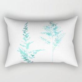 Aqua Blue Astilbe Minimalist Botanical Rectangular Pillow