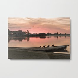 Birds on the pier, Lake Palic, Serbia / Silhouette / Sunrise Metal Print