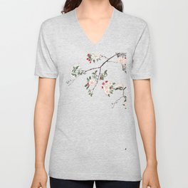 pink cherry blossom Japanese woodblock prints style Unisex V-Neck