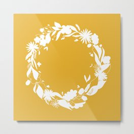 Autumn Wreath Yellow | Illustration | Drawing | Seasons in the Nature Metal Print