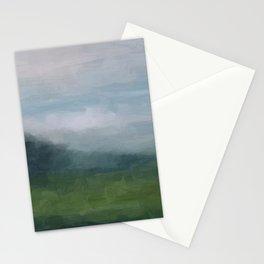 Gray Blue Navy Indigo Grass Green Abstract Painting Wall Art Prints, Nature Horizon, Modern Wall Art Stationery Cards
