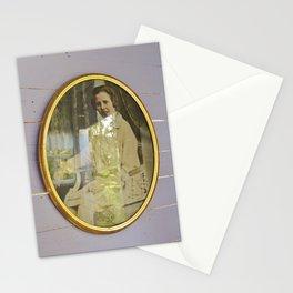 Lady portrait in golden frames Stationery Cards
