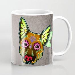 German Shepherd in Brown - Day of the Dead Sugar Skull Dog Coffee Mug