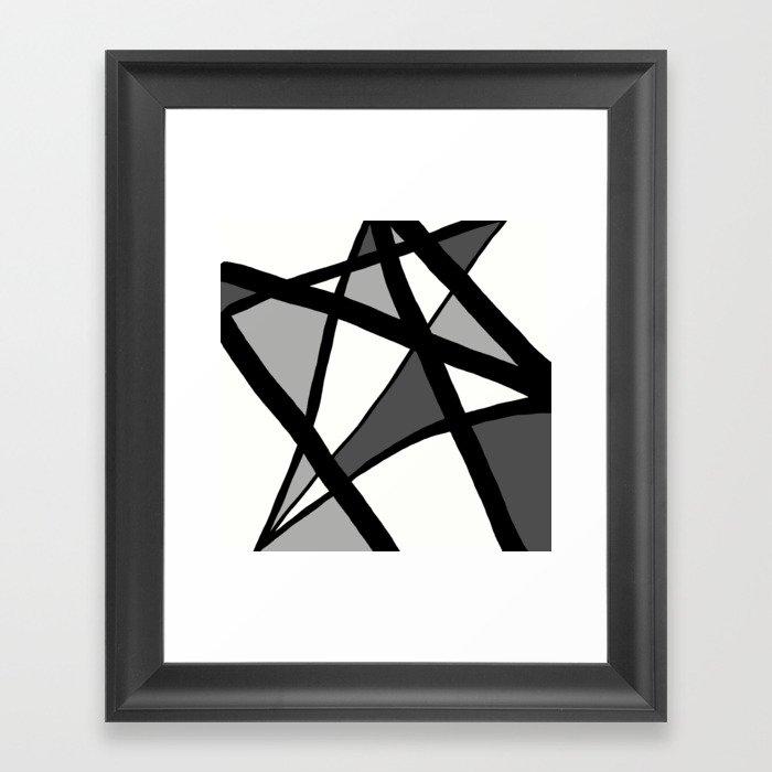 Geometric Line Abstract - Black Gray White Gerahmter Kunstdruck