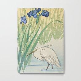 Egret and blue swamp flowers - Vintage Japanese Woodblock Print Metal Print