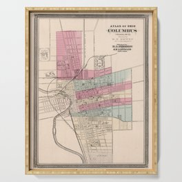 Vintage Map of Columbus Ohio (1868) Serving Tray