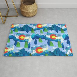 Watercolor Colorado mountains, trees and flag Light Blue Rug