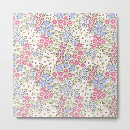 Colorful Cute Floral Meadow Flower Soft Pink and Blue Metal Print