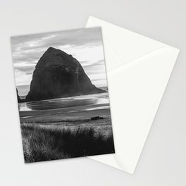 Cannon Beach Sunset - Black and White Nature Photography Stationery Cards