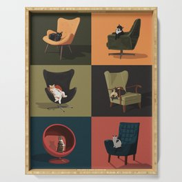 Cats on Chairs Serving Tray
