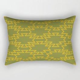 Southwest Azteca - Geometric Pattern in Mid Century Mod Mustard and Olive Green Rectangular Pillow
