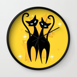 Sunshine Spectacular Atomic Age Black Kitschy Cats Wall Clock