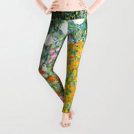 Flower Garden by Gustav Klimt vibrant Leggings