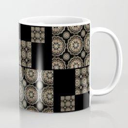 Large Rose-Gold and Black Floral Mandala Textile Piece Coffee Mug