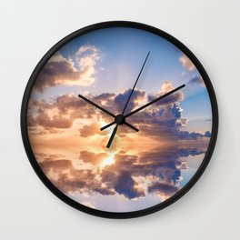 sunset sky over ocean water - landscape photography Wall Clock