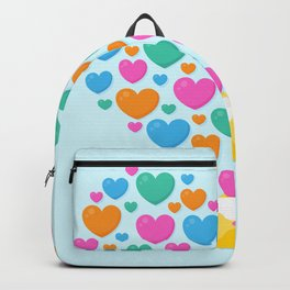 Colorful of heart shape flowing above the letter Backpack
