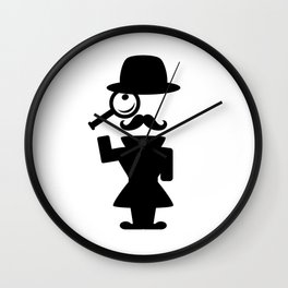 Detective with magnifying glass Wall Clock