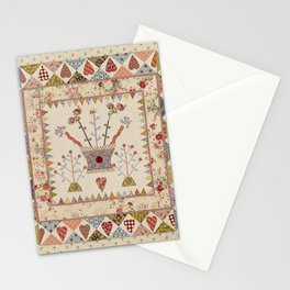 Hearts and Vases Quilt Stationery Cards