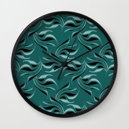 Black swirls on turquoise background. Wall Clock