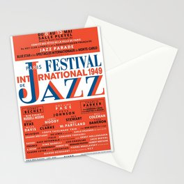Vintage 1949 Paris International Jazz Festival Poster Stationery Cards