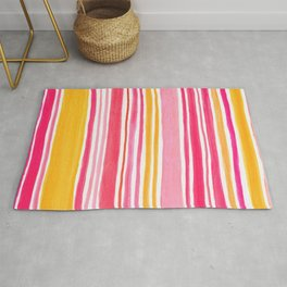 Pink and Yellow Sunny Day Stripes Rug