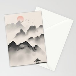 Ink antiquity landscape traditional chinese Stationery Cards