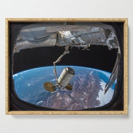 65. SS John Young Cargo Craft Docks to Space Station Serving Tray