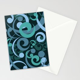 Koru Waves on a Black Background Stationery Cards