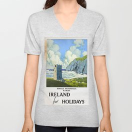 Ireland for Holidays Vintage Travel Poster Unisex V-Neck