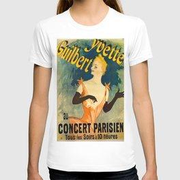 Yvette Guilbert 1891 By Jules Cheret | Reproduction Art Nouveau T-shirt