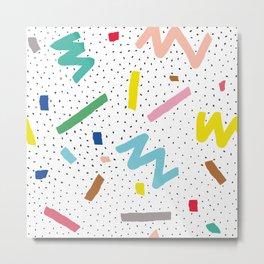 Memphis Pattern Stripes Zigzag and Blobs Metal Print