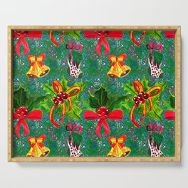 Christmas Red Bows & Gold Bells Watercolor Pattern Serving Tray