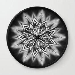 Black Ice Mandala Swirl Wall Clock