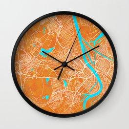 Ludwigshafen am Rhein, Gold, Blue, City, Map Wall Clock