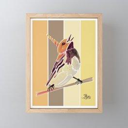 Watercolor Unicorn Song bird // Rustic Barn Wood Stripe Background Framed Mini Art Print