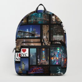65 MCMLXV New York City By Night Postcard Collage Pattern Backpack