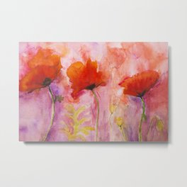 Psychedelic poppies on a pink background Metal Print