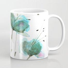 Delicate Cascade Green Blue Watercolor Flowers Coffee Mug