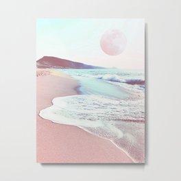 sea, sand and salt with full moon - coastal art Metal Print