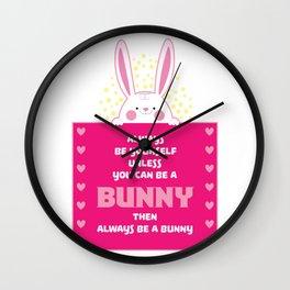 Bunny Sweet Rabbit Pajamas graphic I Lovely Animals Tee Wall Clock