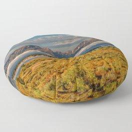 TheGrand Teton National Park in the Fall Panorama Floor Pillow