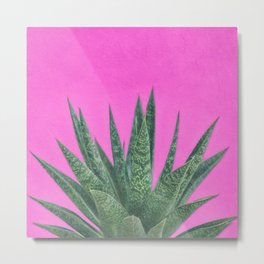 Hot Pink Succulent Metal Print