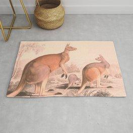 Vintage Kangaroo Family Illustration (1849) Rug