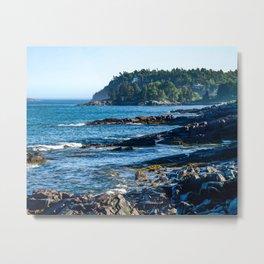 Costal Vibes // Northeastern Maine Rocks and Ocean Photograph Metal Print