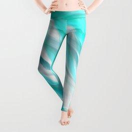 Modern artistic watercolor teal turquoise white brushstrokes Leggings