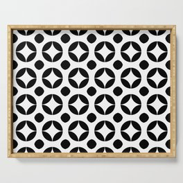 Circle and abstraction 16- black and white Serving Tray